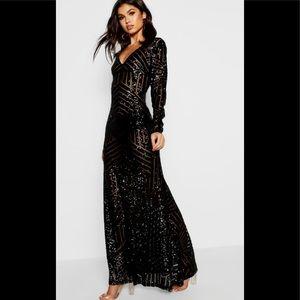 Boohoo Boutique Dress Size 8 Black Mesh Maxi NWT